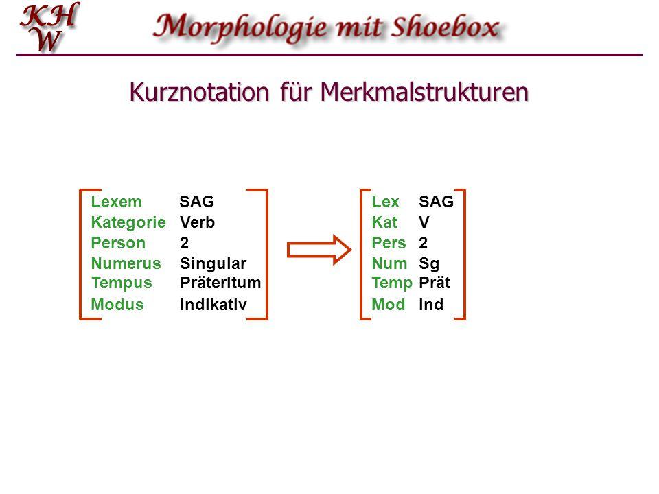 Kurznotation für Merkmalstrukturen KategorieVerb Person2 NumerusSingular ModusIndikativ LexemSAG TempusPräteritum KatV Pers2 NumSg ModInd LexSAG TempPrät