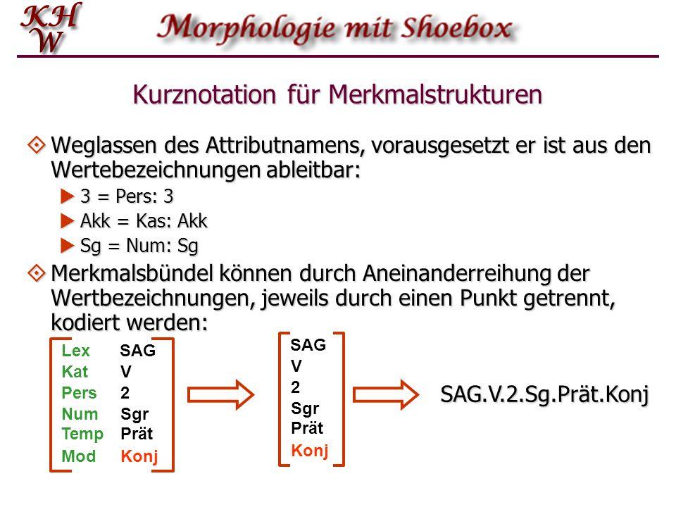 Kurznotation für Merkmalstrukturen  Weglassen des Attributnamens, vorausgesetzt er ist aus den Wertebezeichnungen ableitbar:  3 = Pers: 3  Akk = Kas: Akk  Sg = Num: Sg  Merkmalsbündel können durch Aneinanderreihung der Wertbezeichnungen, jeweils durch einen Punkt getrennt, kodiert werden: KatV Pers2 NumSgr ModKonj LexSAG TempPrät SAG.V.2.Sg.Prät.Konj SAG V 2 Sgr Konj Prät