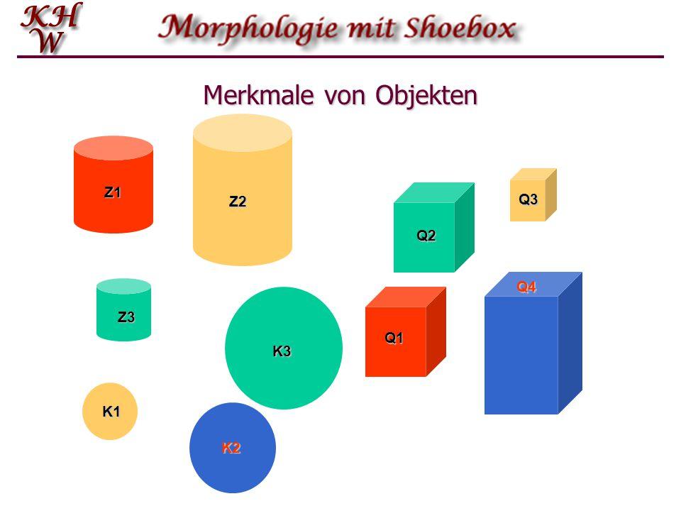 Objekt-Attribut-Wert-Tripel: Beispiele ObjektAttributWert Z1Farberot Z1Größemittel Q3Farbegelb Z1ZylinderForm Q3Quader Z1 Q3 GrößeQ3klein K3Farbegrün FormK3Kreis GrößeK3groß K3