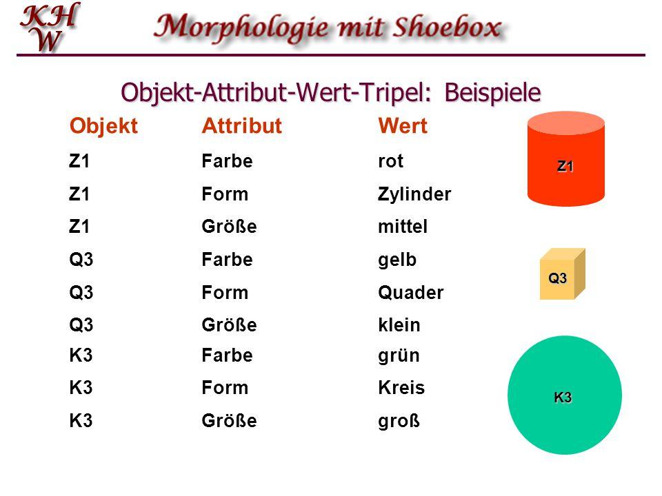 Objekt-Attribut-Wert-Tripel: Beispiele ObjektAttributWert Z1Farberot Z1Größemittel Q3Farbegelb Z1ZylinderForm Q3Quader Z1 Q3 GrößeQ3klein K3Farbegrün