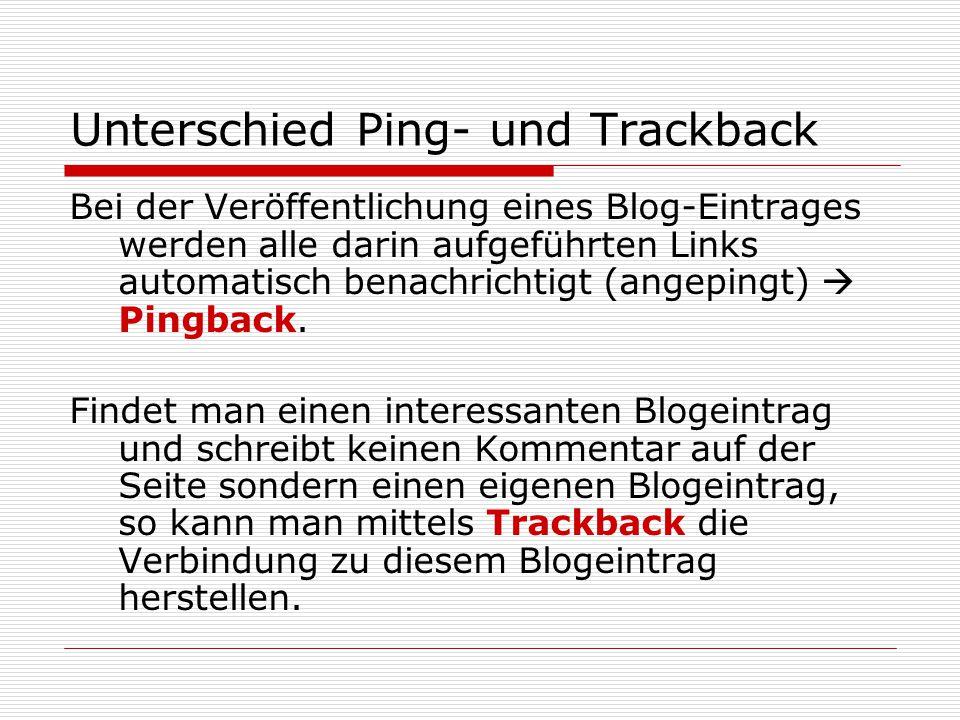 Unterschied Ping- und Trackback Bei der Veröffentlichung eines Blog-Eintrages werden alle darin aufgeführten Links automatisch benachrichtigt (angepingt)  Pingback.