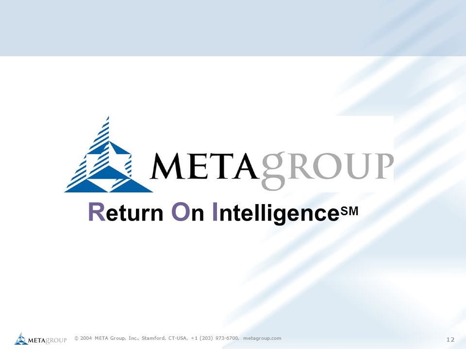 © 2004 META Group, Inc., Stamford, CT-USA, +1 (203) 973-6700, metagroup.com 12 R eturn O n I ntelligence SM