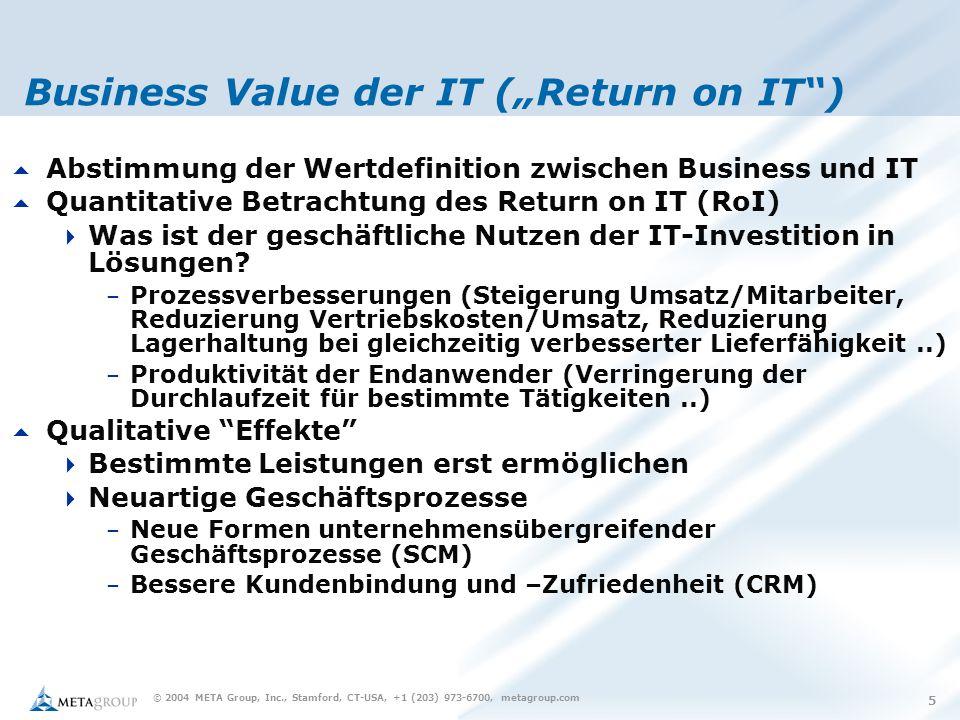 """© 2004 META Group, Inc., Stamford, CT-USA, +1 (203) 973-6700, metagroup.com 5 Business Value der IT (""""Return on IT )  Abstimmung der Wertdefinition zwischen Business und IT  Quantitative Betrachtung des Return on IT (RoI)  Was ist der geschäftliche Nutzen der IT-Investition in Lösungen."""