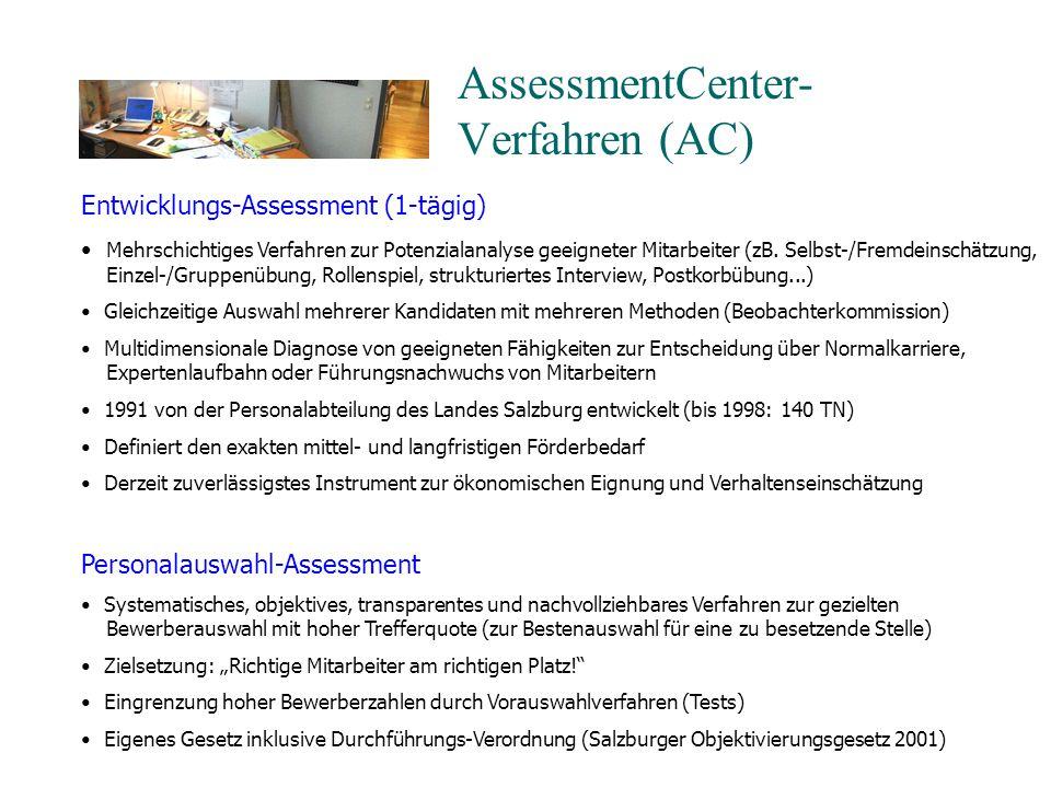 AssessmentCenter- Verfahren (AC) Entwicklungs-Assessment (1-tägig) Mehrschichtiges Verfahren zur Potenzialanalyse geeigneter Mitarbeiter (zB.