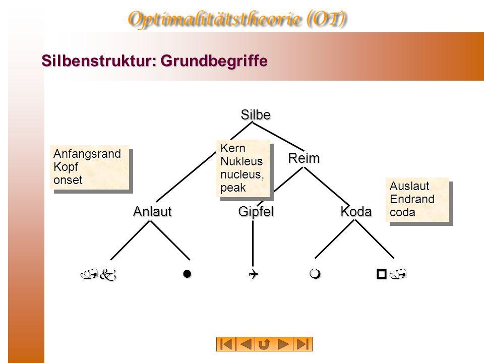 Silbenstruktur: Grundbegriffe Silbe Anlaut Reim GipfelKoda /klQmp/ Anfangsrand Kopf onset Kern Nukleus nucleus, peak Auslaut Endrand coda