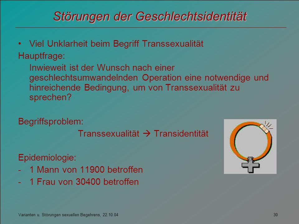 Varianten u. Störungen sexuellen Begehrens, 22.10.04 30 Störungen der Geschlechtsidentität Viel Unklarheit beim Begriff Transsexualität Hauptfrage: In