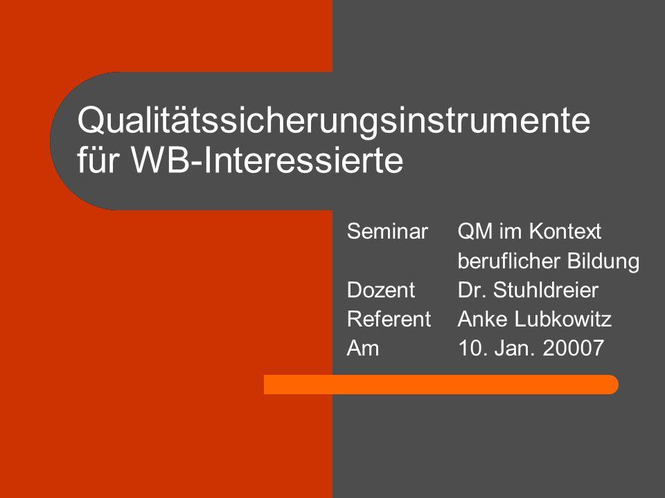 Qualitätssicherungsinstrumente für WB-Interessierte SeminarQM im Kontext beruflicher Bildung DozentDr. Stuhldreier ReferentAnke Lubkowitz Am10. Jan. 2