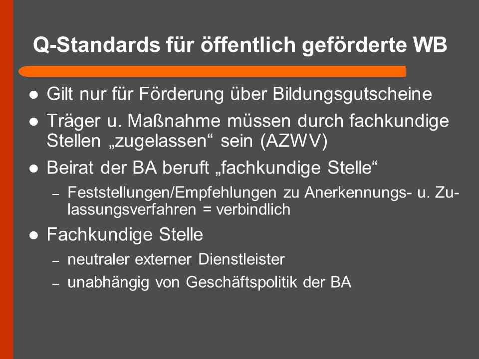 """Q-Standards für öffentlich geförderte WB Gilt nur für Förderung über Bildungsgutscheine Träger u. Maßnahme müssen durch fachkundige Stellen """"zugelasse"""