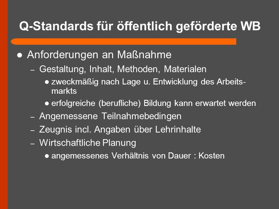 Q-Standards für öffentlich geförderte WB Anforderungen an Maßnahme – Gestaltung, Inhalt, Methoden, Materialen zweckmäßig nach Lage u. Entwicklung des