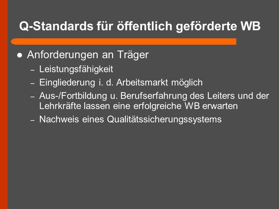 Q-Standards für öffentlich geförderte WB Anforderungen an Träger – Leistungsfähigkeit – Eingliederung i. d. Arbeitsmarkt möglich – Aus-/Fortbildung u.