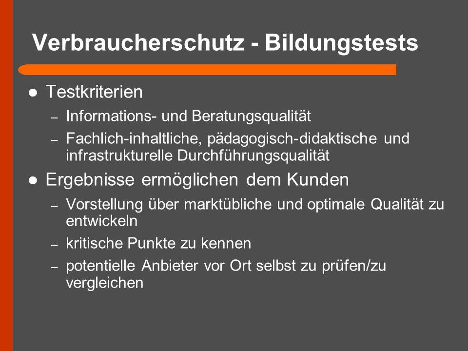 Verbraucherschutz - Bildungstests Testkriterien – Informations- und Beratungsqualität – Fachlich-inhaltliche, pädagogisch-didaktische und infrastruktu