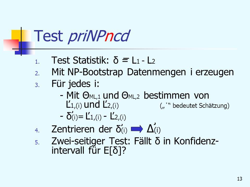 13 Test priNPncd 1.Test Statistik: δ = L 1 - L 2 2.