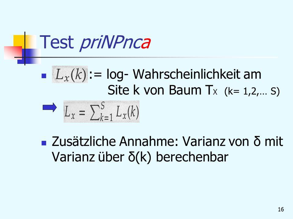 16 Test priNPnca := log- Wahrscheinlichkeit am Site k von Baum T X (k= 1,2,… S) Zusätzliche Annahme: Varianz von δ mit Varianz über δ(k) berechenbar