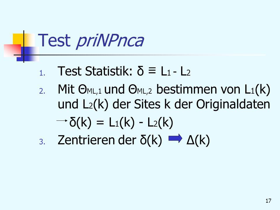 17 Test priNPnca 1.Test Statistik: δ = L 1 - L 2 2.