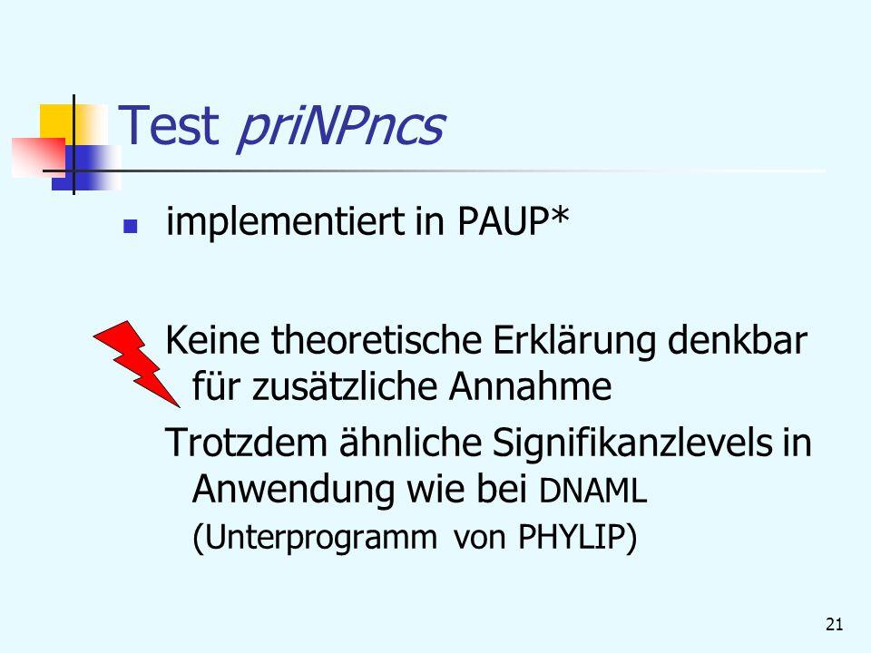 21 Test priNPncs implementiert in PAUP* Keine theoretische Erklärung denkbar für zusätzliche Annahme Trotzdem ähnliche Signifikanzlevels in Anwendung wie bei DNAML (Unterprogramm von PHYLIP)