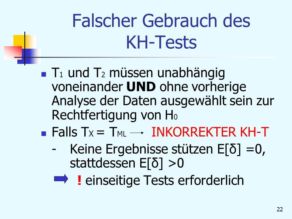 22 Falscher Gebrauch des KH-Tests T 1 und T 2 müssen unabhängig voneinander UND ohne vorherige Analyse der Daten ausgewählt sein zur Rechtfertigung von H 0 Falls T X = T ML INKORREKTER KH-T - Keine Ergebnisse stützen E[δ] =0, stattdessen E[δ] >0 .