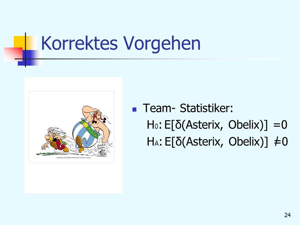 24 Korrektes Vorgehen Team- Statistiker: H 0 : E[δ(Asterix, Obelix)] =0 H A : E[δ(Asterix, Obelix)] =0