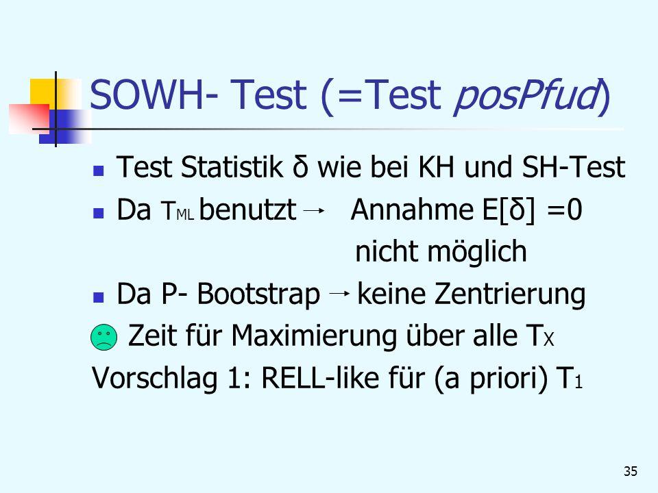 35 SOWH- Test (=Test posPfud) Test Statistik δ wie bei KH und SH-Test Da T ML benutzt Annahme E[δ] =0 nicht möglich Da P- Bootstrap keine Zentrierung Zeit für Maximierung über alle T X Vorschlag 1: RELL-like für (a priori) T 1