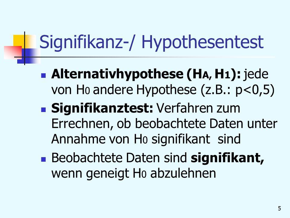 6 Signifikanz-/ Hypothesentest Signifikanzlevel/ -niveau/ Irrtumswahrscheinlichkeit (α): maximale WS mit der Hypothese abgelehnt wurde, die akzeptiert werden sollte; oft α=5% oder 1% P-Wert: WS den beobachteten oder extremeren Wert anzutreffen/ kleinstes α, auf dem H 0 abgelehnt wird