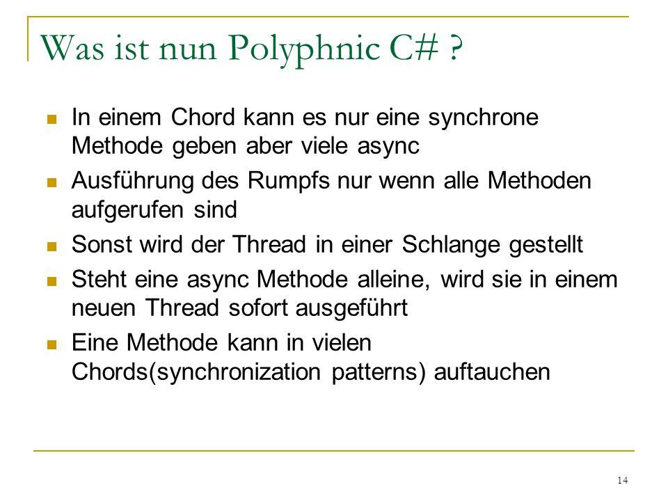 14 In einem Chord kann es nur eine synchrone Methode geben aber viele async Ausführung des Rumpfs nur wenn alle Methoden aufgerufen sind Sonst wird der Thread in einer Schlange gestellt Steht eine async Methode alleine, wird sie in einem neuen Thread sofort ausgeführt Eine Methode kann in vielen Chords(synchronization patterns) auftauchen Was ist nun Polyphnic C#