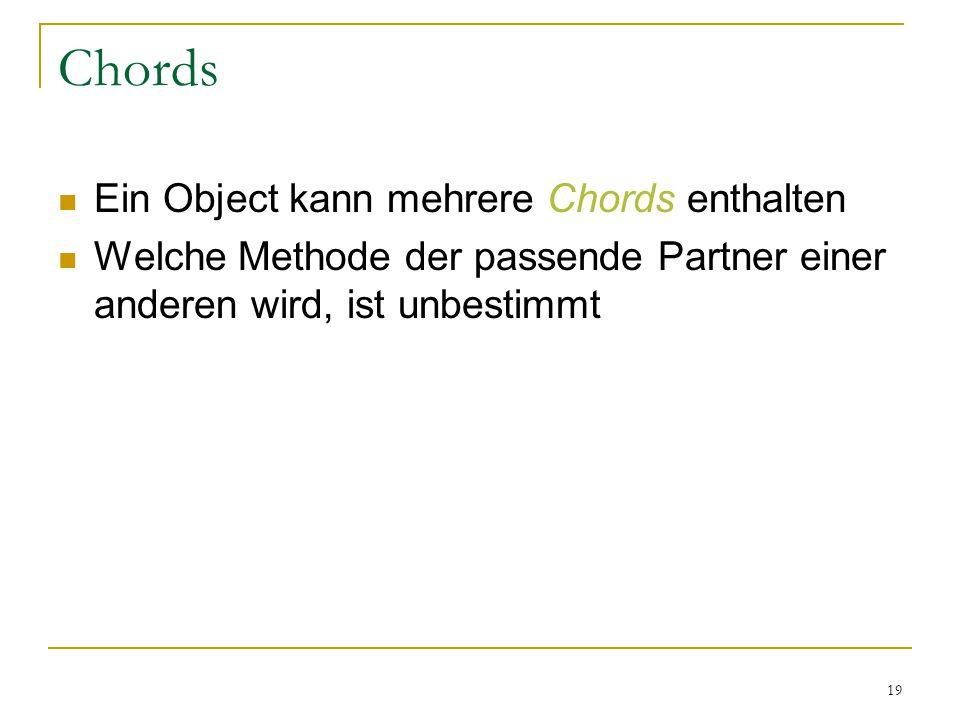 19 Chords Ein Object kann mehrere Chords enthalten Welche Methode der passende Partner einer anderen wird, ist unbestimmt