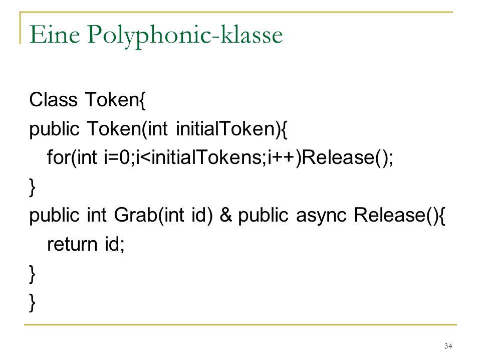 34 Eine Polyphonic-klasse Class Token{ public Token(int initialToken){ for(int i=0;i<initialTokens;i++)Release(); } public int Grab(int id) & public async Release(){ return id; }