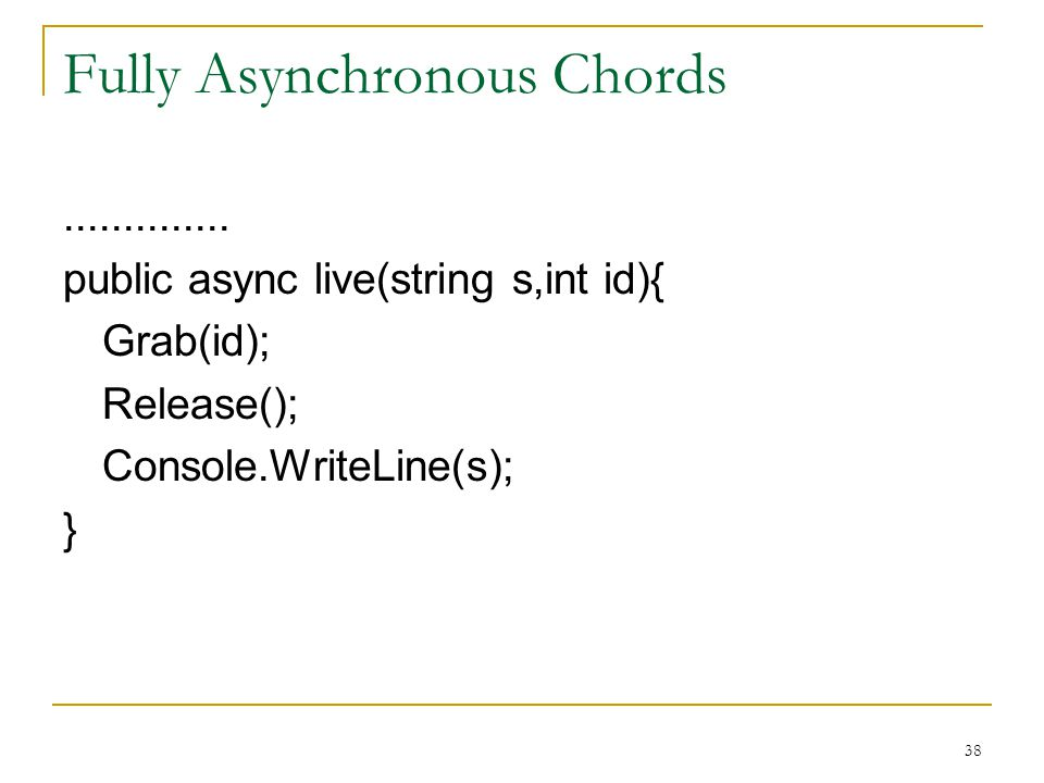 38 Fully Asynchronous Chords..............