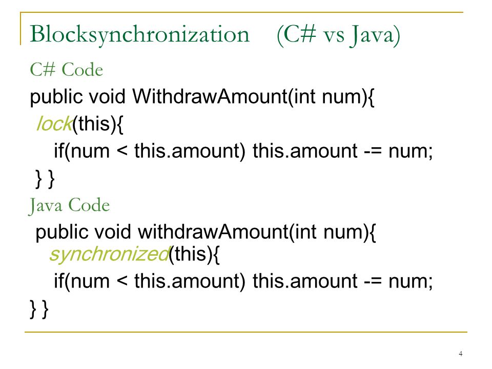 4 Blocksynchronization (C# vs Java) C# Code public void WithdrawAmount(int num){ lock(this){ if(num < this.amount) this.amount -= num; } } Java Code p