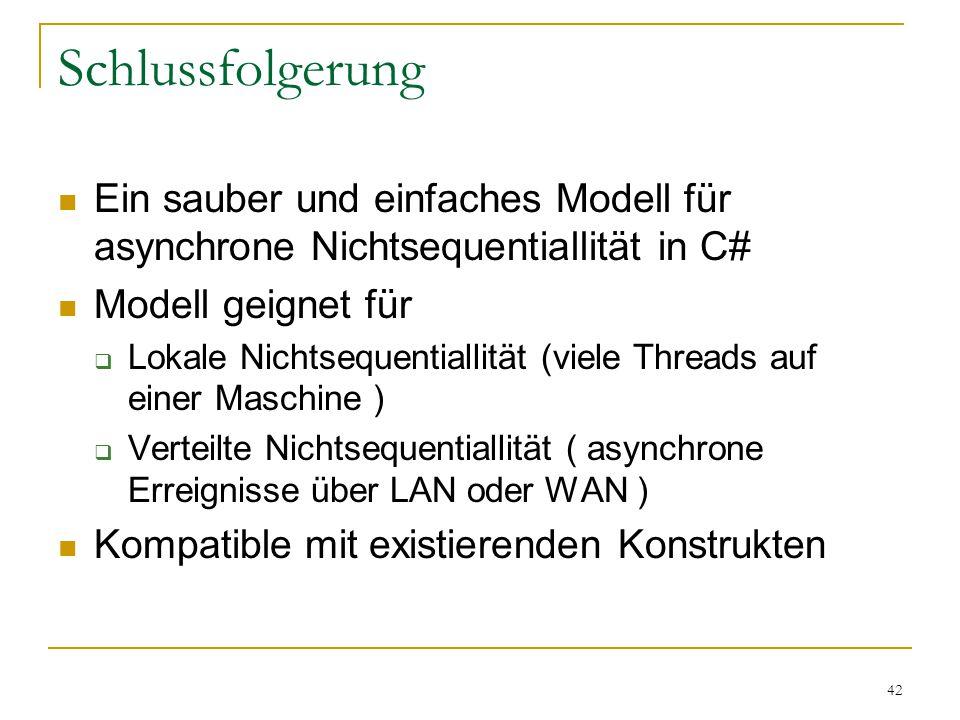 42 Schlussfolgerung Ein sauber und einfaches Modell für asynchrone Nichtsequentiallität in C# Modell geignet für  Lokale Nichtsequentiallität (viele Threads auf einer Maschine )  Verteilte Nichtsequentiallität ( asynchrone Erreignisse über LAN oder WAN ) Kompatible mit existierenden Konstrukten