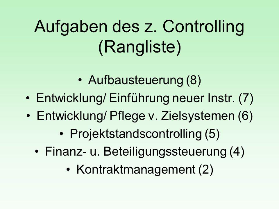 Aufgaben des z. Controlling (Rangliste) Aufbausteuerung (8) Entwicklung/ Einführung neuer Instr. (7) Entwicklung/ Pflege v. Zielsystemen (6) Projektst
