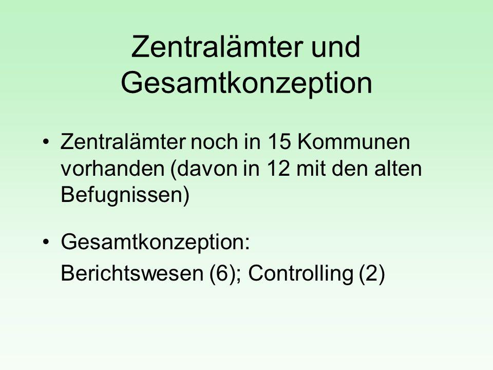 Zentralämter und Gesamtkonzeption Zentralämter noch in 15 Kommunen vorhanden (davon in 12 mit den alten Befugnissen) Gesamtkonzeption: Berichtswesen (