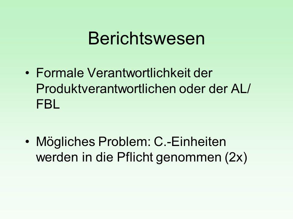 Berichtswesen Formale Verantwortlichkeit der Produktverantwortlichen oder der AL/ FBL Mögliches Problem: C.-Einheiten werden in die Pflicht genommen (