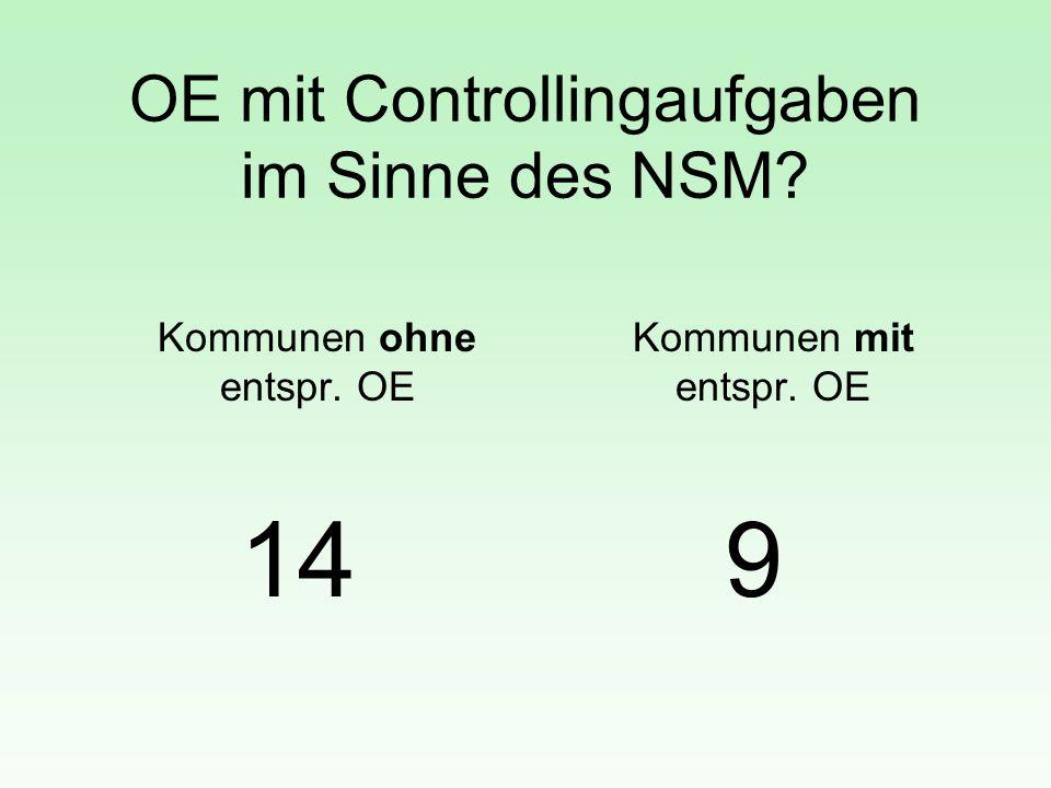 OE mit Controllingaufgaben im Sinne des NSM? Kommunen ohne entspr. OE 14 Kommunen mit entspr. OE 9