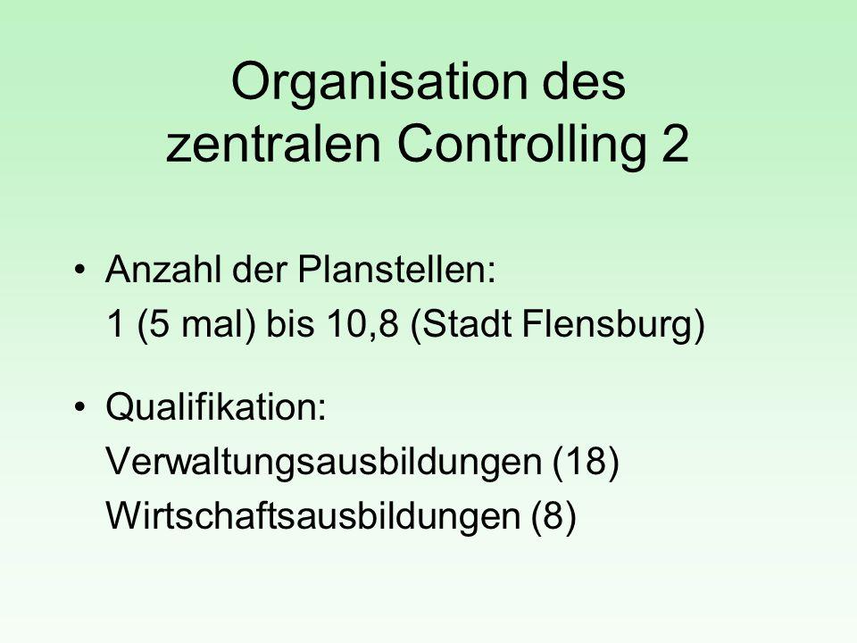 Organisation des zentralen Controlling 2 Anzahl der Planstellen: 1 (5 mal) bis 10,8 (Stadt Flensburg) Qualifikation: Verwaltungsausbildungen (18) Wirt