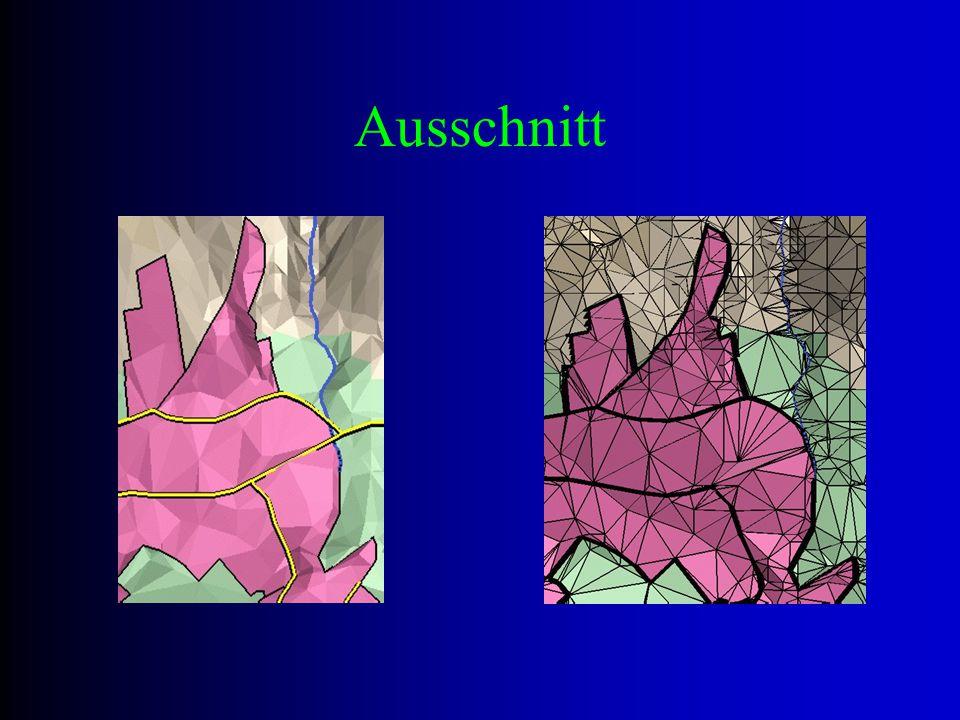"""Constrained Delaunay Ziel ist eine dynamische Fortführung eines triangulierten digitalen Geländemodells zB Landkarten müssen aufgrund geomorphologischer Gegebenheiten neu trianguliert werden diese können """"Grenzen , die die Triangulation nicht schneiden sollte, definieren (vgl Bsp letzter Vortrag, Strassenkante) Lösung: Einfügen vordefinierter Kanten mit Bedingungen"""