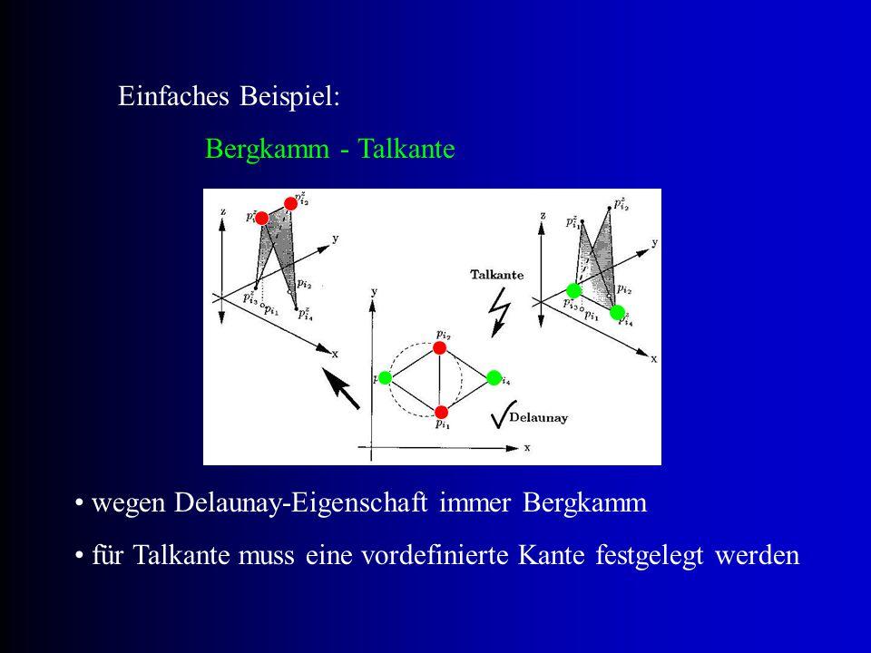 """annähernde Gleichwinkligkeit der Dreiecke nicht mehr garantiert ist die Menge der vordefinierten Kanten leer, entspricht die bedingte Delaunay-Triangulation der """"einfachen visibility (Sichtbarkeit) positive Eigenschaften der Delaunay-Triangulation bleiben erhalten, werden nur an vordefinierten Kanten abgeschwächt Eigenschaften"""