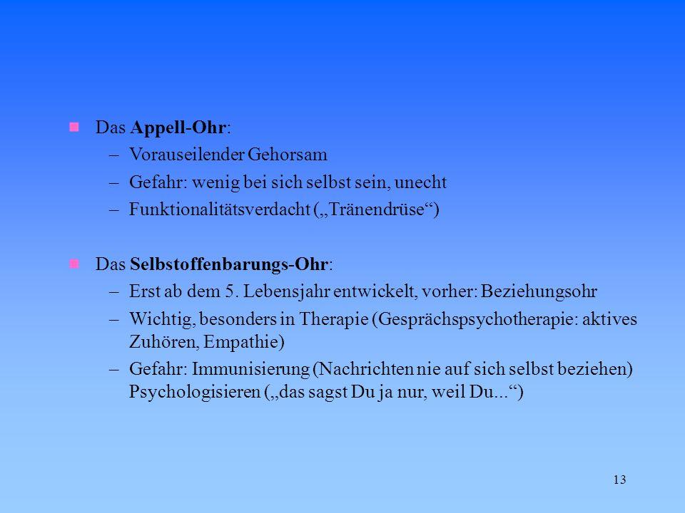 """13 Das Appell-Ohr: –Vorauseilender Gehorsam –Gefahr: wenig bei sich selbst sein, unecht –Funktionalitätsverdacht (""""Tränendrüse"""") Das Selbstoffenbarung"""
