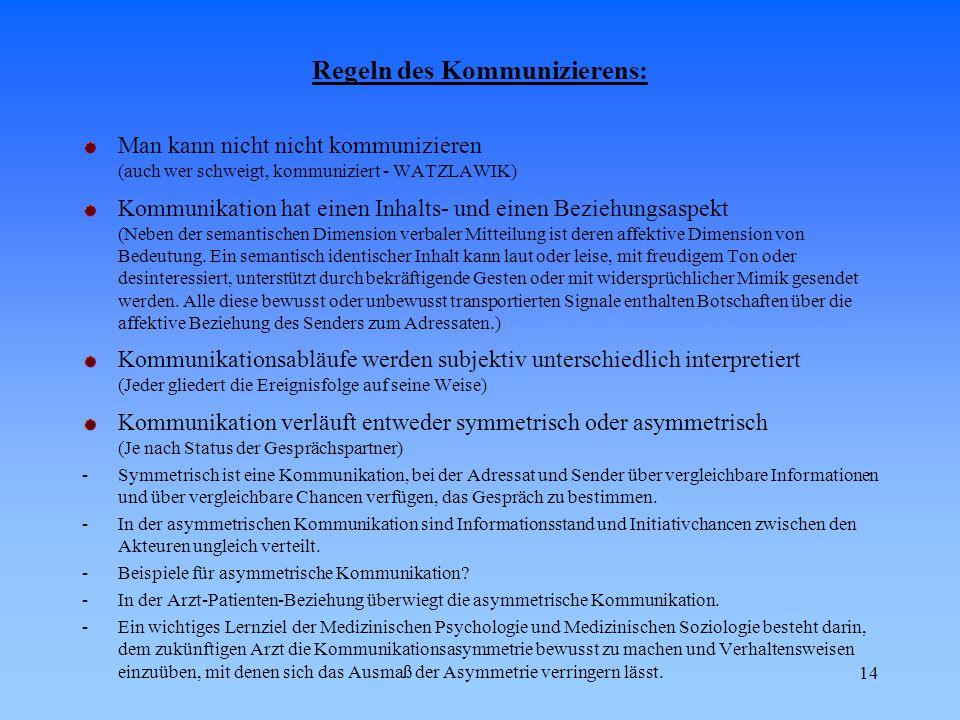 14 Regeln des Kommunizierens: Man kann nicht nicht kommunizieren (auch wer schweigt, kommuniziert - WATZLAWIK) Kommunikation hat einen Inhalts- und ei