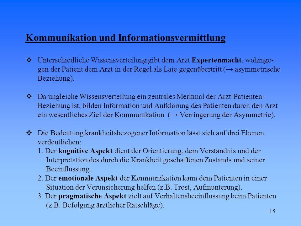 15 Kommunikation und Informationsvermittlung  Unterschiedliche Wissensverteilung gibt dem Arzt Expertenmacht, wohinge- gen der Patient dem Arzt in de