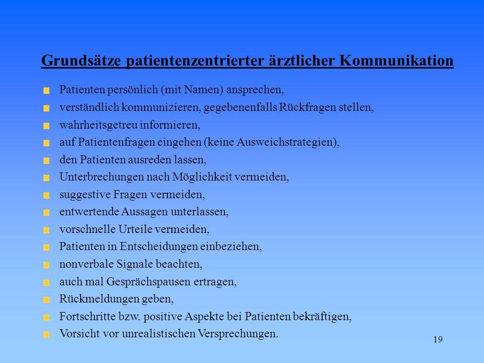 19 Grundsätze patientenzentrierter ärztlicher Kommunikation Patienten persönlich (mit Namen) ansprechen, verständlich kommunizieren, gegebenenfalls Rü
