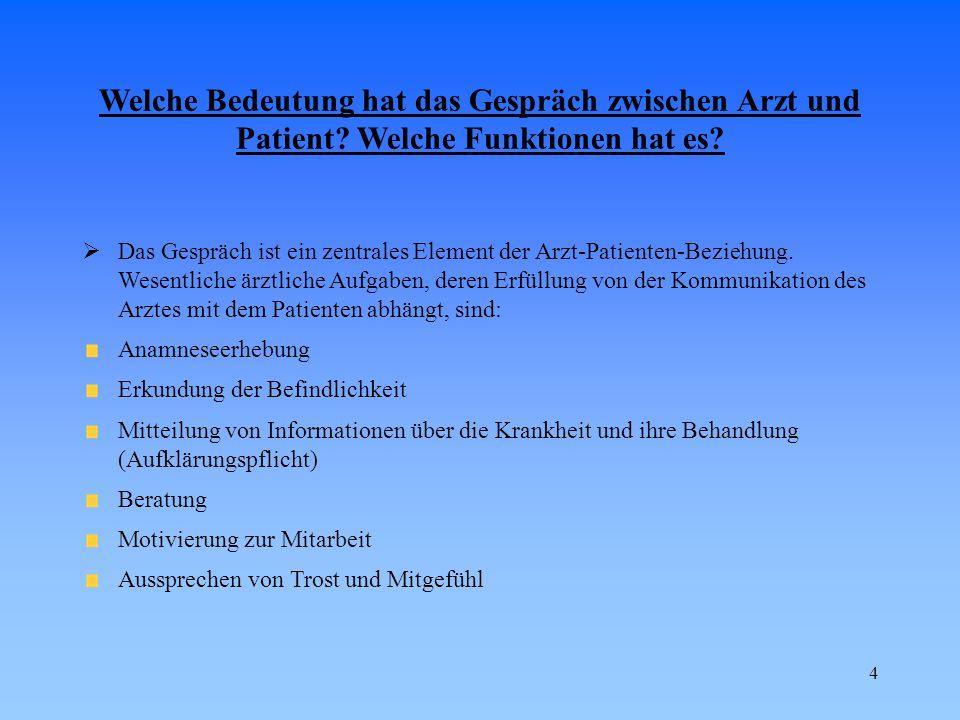 5 Welche Probleme können in der Kommunikation zwischen Arzt und Patient auftreten.