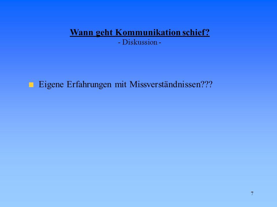 7 Wann geht Kommunikation schief? - Diskussion - Eigene Erfahrungen mit Missverständnissen???