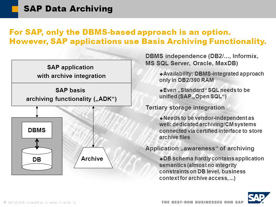  SAP AG 2005, UniJena05.ppt, A. Herbst, 10 Jan 05 / 12 SAP Data Archiving For SAP, only the DBMS-based approach is an option. However, SAP applicatio