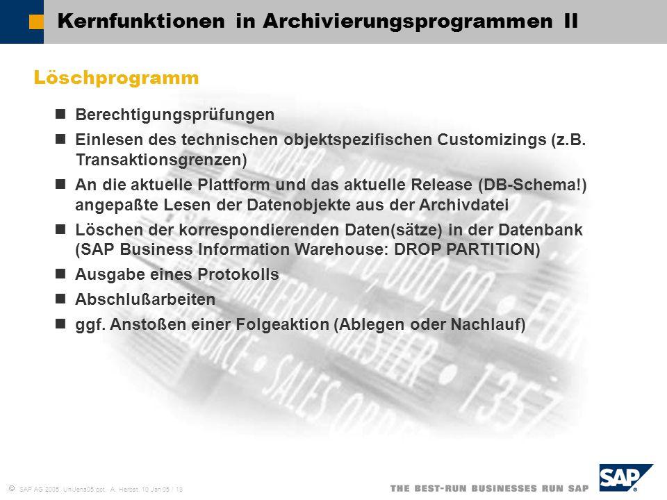  SAP AG 2005, UniJena05.ppt, A. Herbst, 10 Jan 05 / 18 Kernfunktionen in Archivierungsprogrammen II Löschprogramm Berechtigungsprüfungen Einlesen des