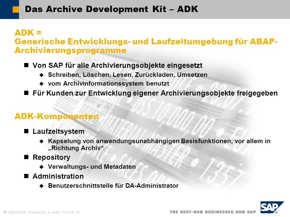  SAP AG 2005, UniJena05.ppt, A. Herbst, 10 Jan 05 / 20 Das Archive Development Kit – ADK ADK = Generische Entwicklungs- und Laufzeitumgebung für ABAP
