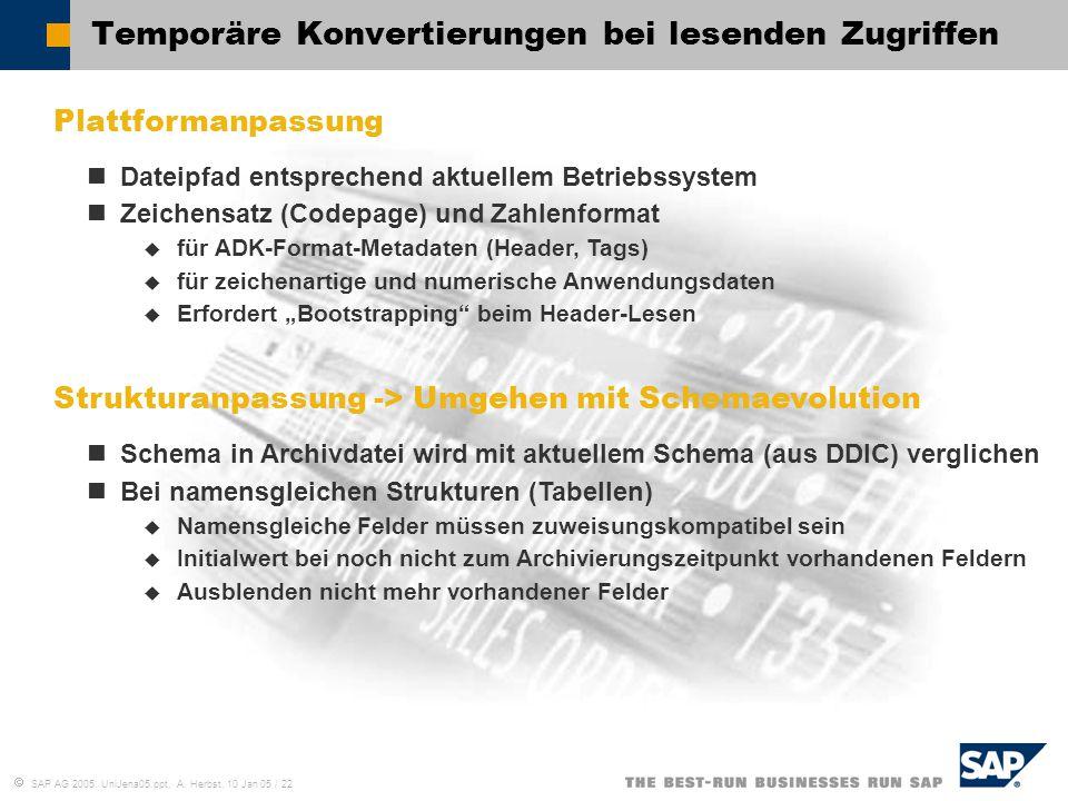  SAP AG 2005, UniJena05.ppt, A. Herbst, 10 Jan 05 / 22 Temporäre Konvertierungen bei lesenden Zugriffen Plattformanpassung Dateipfad entsprechend akt