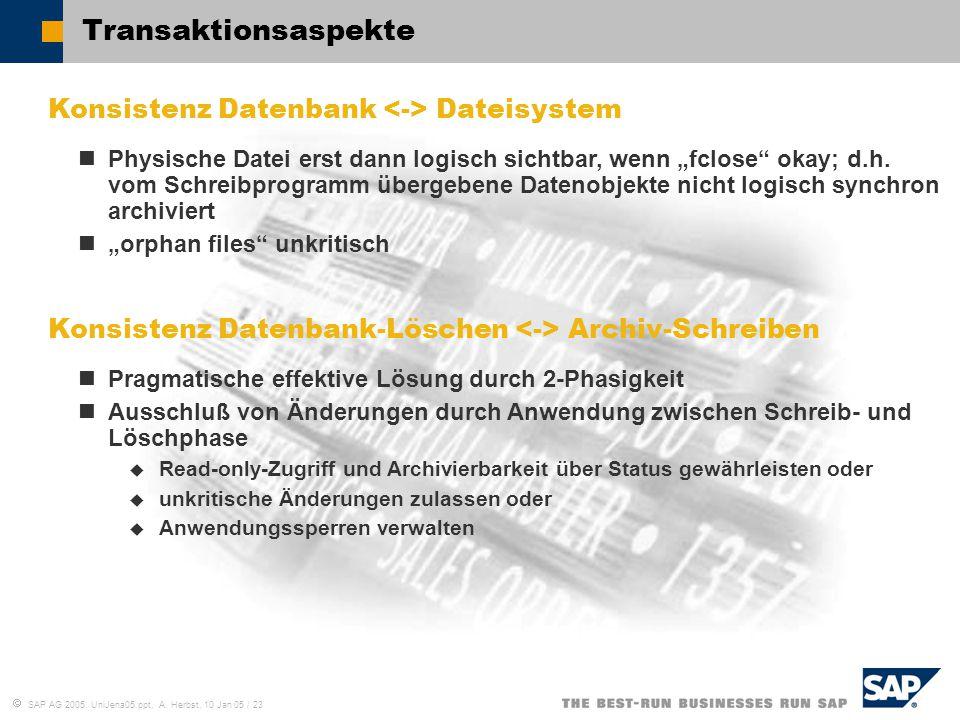  SAP AG 2005, UniJena05.ppt, A. Herbst, 10 Jan 05 / 23 Transaktionsaspekte Konsistenz Datenbank Dateisystem Physische Datei erst dann logisch sichtba
