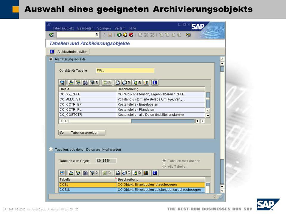  SAP AG 2005, UniJena05.ppt, A. Herbst, 10 Jan 05 / 25 Auswahl eines geeigneten Archivierungsobjekts