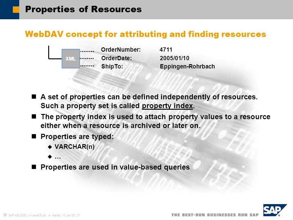  SAP AG 2005, UniJena05.ppt, A. Herbst, 10 Jan 05 / 37 Properties of Resources WebDAV concept for attributing and finding resources A set of properti