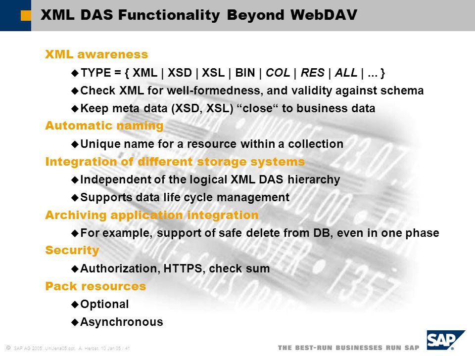  SAP AG 2005, UniJena05.ppt, A. Herbst, 10 Jan 05 / 41 XML DAS Functionality Beyond WebDAV XML awareness  TYPE = { XML | XSD | XSL | BIN | COL | RES